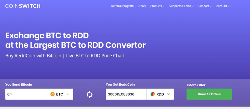 exchange btc to rdd